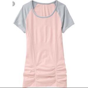 Athleta Pink Grey Colorblock Fast Track Tee Small